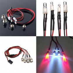 RC On-Road Car LED Night 5mm White And 3mm Red Headlamps