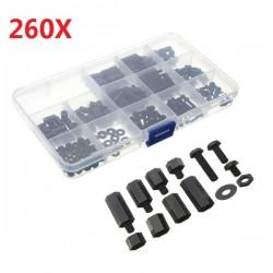 Suleve™ M3NH2 M3 Nylon Screw Black Hex Screw Nut Nylon PCB Standoff Assortment Kit 260pcs