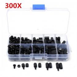 Suleve™ M3NH1 M3 Nylon Screw Black Hex Screw Nut Nylon PCB Standoff Assortment Kit 300pcs