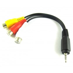 Boscam 2.5mm Jack Male Plug To 3 RCA Male AV Out Cable