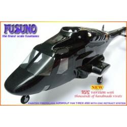 FUSUNO FiberGlass Airwolf RVS Fuselage T-REX450 /BLACK/LIGHTING