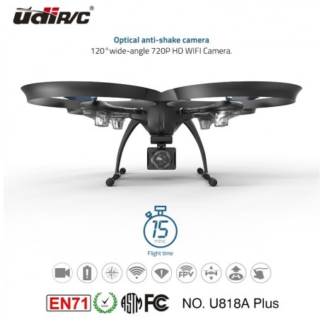 UDIRC Drone U818A Plus, 720p, HD Camera, WiFi, VR Mode