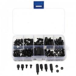 Suleve™ M3NH5 M3 Nylon Screw Black Hex Screw Nut Nylon PCB Standoff Assortment Kit 180pcs