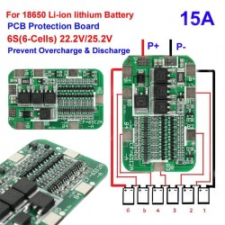6S 15A PCB BMS Protection Board Li-ion Lithium 18650 Battery Cells 22.2V 25.2V