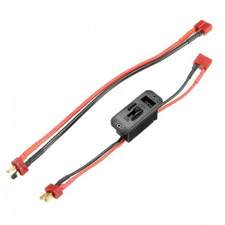 Axial T Plug On Off Switch Connector with Extend Wire Cable For RC Lipo Battery
