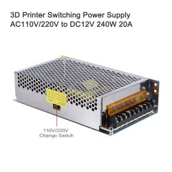 AC 110V/220V to DC 12V 240W 20A Switching Power Supply input Centralized Monitoring Adaptor Transformer for 3D Printer