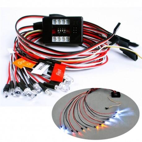 12PCS RC 1/10 Car Truck Parts LED Lighting Kit Brake + Headlight + Signal Fit 2.4ghz PPM FM
