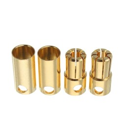 2 Pairs 6.5mm Bullet Connector Banana Plug Multirotor Spare Part for RC Battery