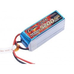 GensAce 5200mAh 11.1V 10/20C 3S2P Lipo Battery Pack with 3.5mm Banana Connector