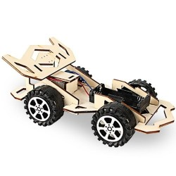 Wood Racing Car DIY Kit Kids Toy DIY Kit Electric Wooden Racing Car for Children Science and Technology Inventions Assembled