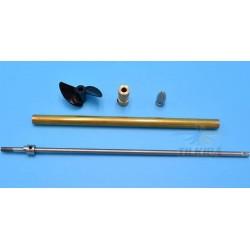 Boat 4mm Stainless Steel Ship Shaft Drive Shaft + Blade propeller + Copper Shaft Sleeve/set
