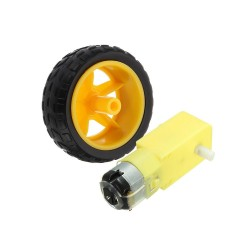 65 x 26mm Plastic Tire Wheel + DC 3-6v Gear Motor For Arduino Smart Car