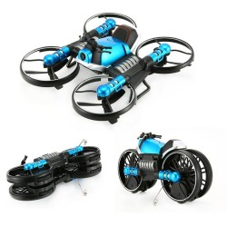 HeHengDa Toys H6 2.4G 2 In 1 Electric RC Deformation Motorcycle Drone WIFI Control Car RTR Model