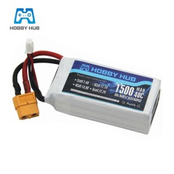 Hobby Hub LiPo Battery 11.1V 1500Mah 3S 40C Max 60C XT60 Plug