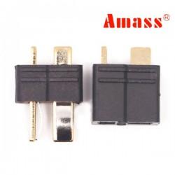 Amass AM-1015B Anti-Slip Black T Plug Connector Male & Female