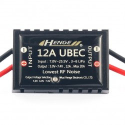 HENGE 12A UBEC Switch Mode BEC Voltage Stabilizer Output 5V / 6V / 7.4V 12A Input 3S-6S Lipo 7V-25.5V