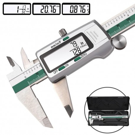 Digital Stainless Steel Caliper 150mm 6 Inches Inch/Metric/Fractions Conversion 0.01mm Resolution with Box