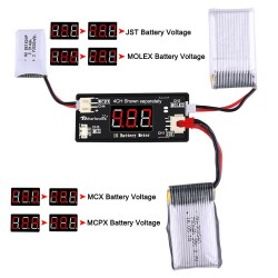 1S LiPo Battery Voltage Meter Checker Tester with JST MCX PH 2.0 Micro Losi Connector