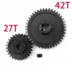 Metal Diff Main Gear 42T + Motor Gear 27T For 1/18 WLtoys A959-B A969-B A979-B K929-B RC Car Upgrade Parts
