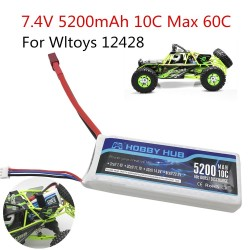 RC Lipo Battery 2s 7.4V 5200mAh 10C Max 60C For Wltoys 12428 12423 upgrade Battery