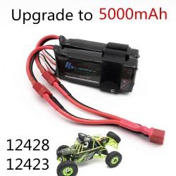 Limskey Power Upgrade to 7.4V 5000MAH (2pcs*2500mah 7.4V ) 40C 2S lipo battery T plug for Wltoys 12428 12423 RC Car