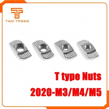 10pcs/lot TWO TREES 3D Printer Parts M3/M4/M5 Carbon Steel T type Nuts Fastener Aluminum Connector For 2020
