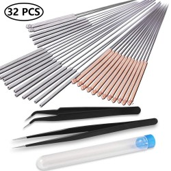 32 Pcs 3D Printer Nozzle Cleaning Kit 30 Pieces Nozzle Cleaner 0.15mm 0.25mm 0.35mm 0.4mm 0.5mm Cleaning Needles for 3D Printer