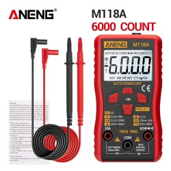 ANENG M118A Digital Mini Multimeter Tester Auto True Rms Tranistor Meter with NCV Data Hold