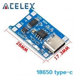 TYPE-C 5V 1A 18650 TP4056 Lithium Battery Charger Module Charging Board With Protection Dual Functions 1A