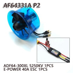AEORC 64mm Ducted Fan System EDF AF64331A-P2 for Jet Plane with Brushless Motor 5250KV 1PCS + 1PCS 40A ESC