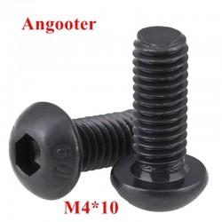 10PCS M4*10 Black Steel Round Head Screws M4x10 Hex Socket Button Head Cap Screw