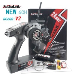 RadioLink RC6GS V2 R7FG 6CH Dual Mix Programmable 600M 400M Ground Distance Gyro Integrated